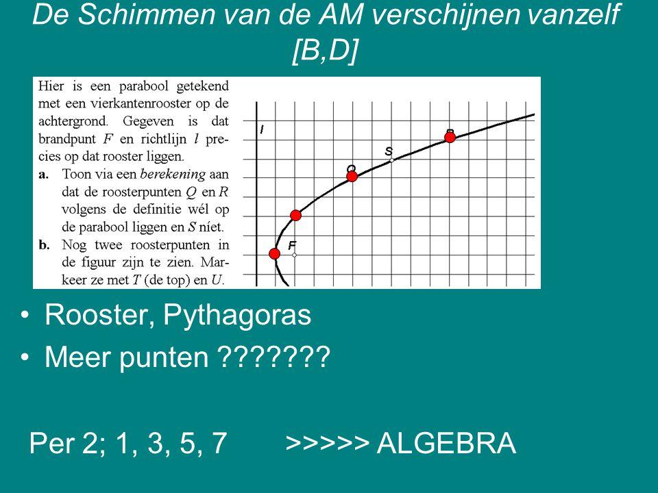 De Schimmen van de AM verschijnen vanzelf [B,D] Rooster, Pythagoras Meer punten ??????? Per 2; 1, 3, 5, 7 >>>>> ALGEBRA