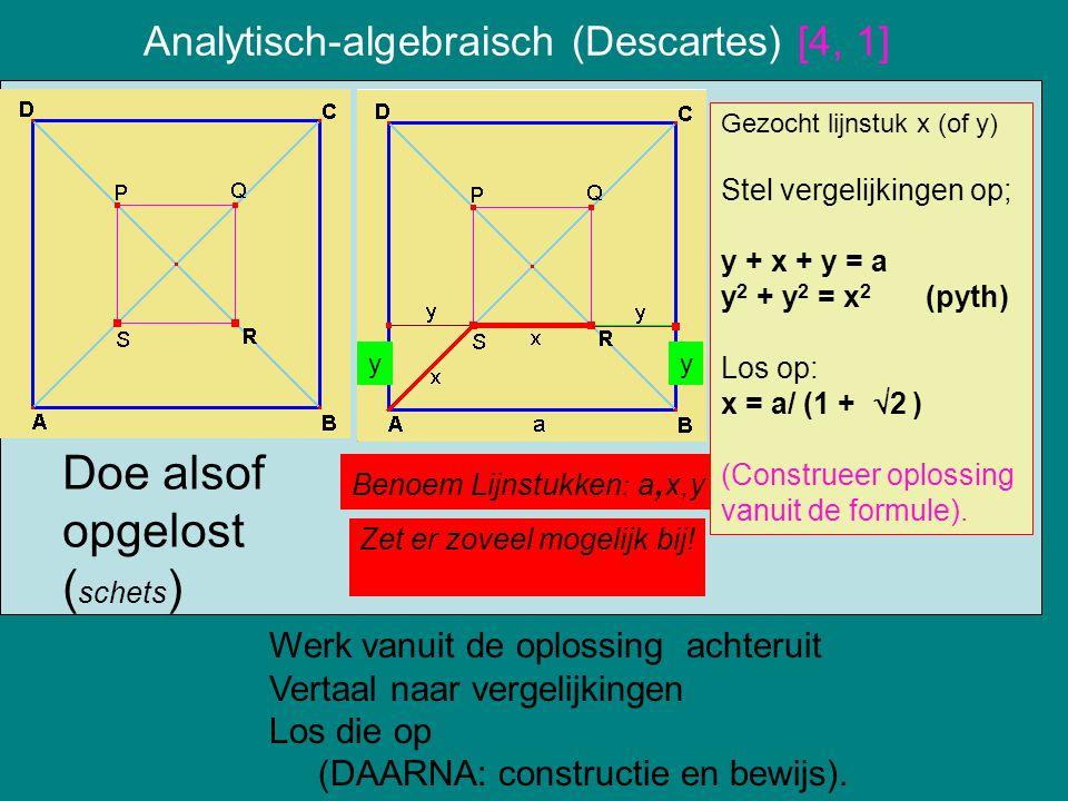 Analytisch-algebraisch (Descartes) [4, 1] Werk vanuit de oplossing achteruit Vertaal naar vergelijkingen Los die op (DAARNA: constructie en bewijs). D