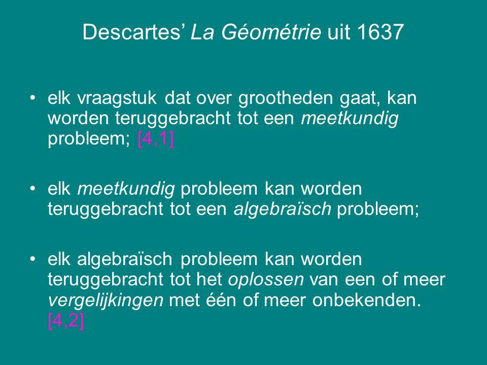 Descartes' La Géométrie uit 1637 elk vraagstuk dat over grootheden gaat, kan worden teruggebracht tot een meetkundig probleem; [4,1] elk meetkundig pr