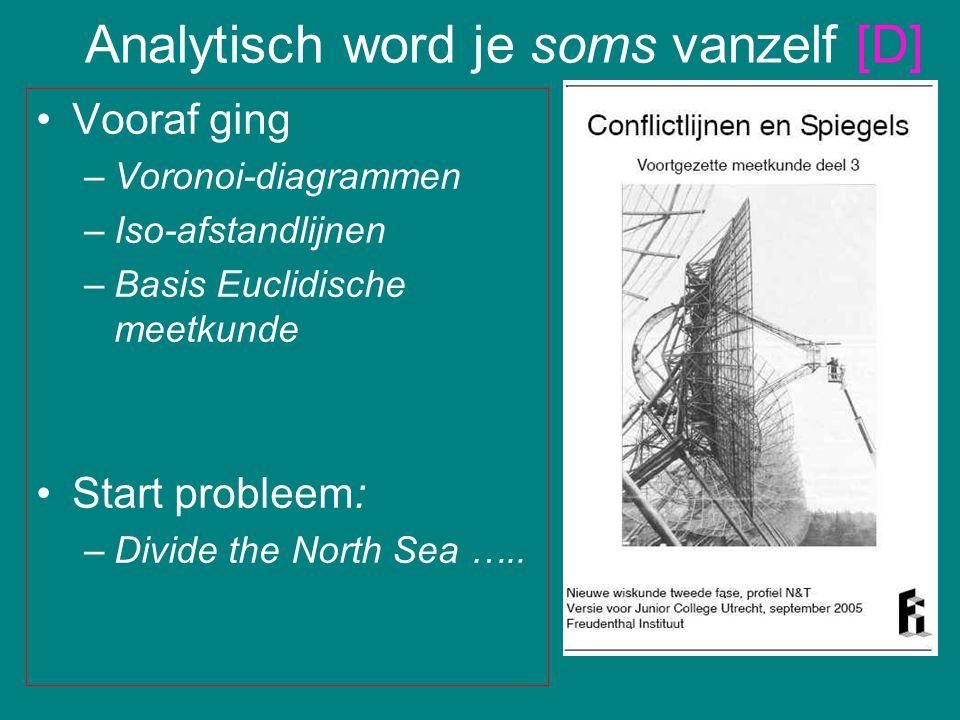 Vooraf ging –Voronoi-diagrammen –Iso-afstandlijnen –Basis Euclidische meetkunde Start probleem: –Divide the North Sea ….. Analytisch word je soms vanz