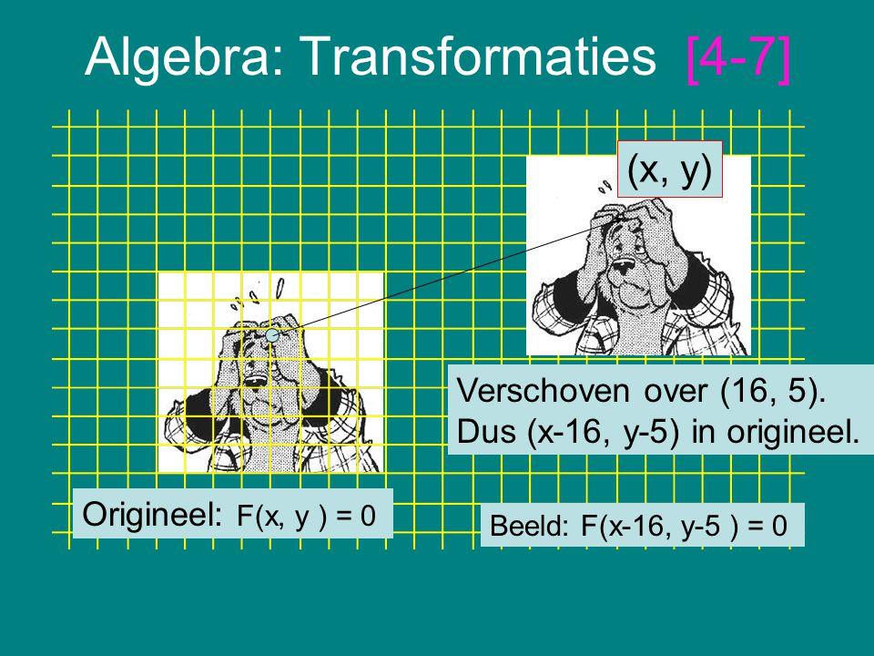 Algebra: Transformaties [4-7] Origineel: F(x, y ) = 0 Verschoven over (16, 5). Dus (x-16, y-5) in origineel. (x, y) Beeld: F(x-16, y-5 ) = 0