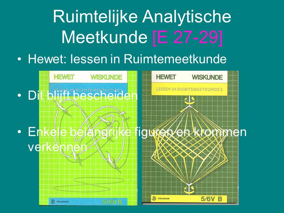 Ruimtelijke Analytische Meetkunde [E 27-29] Hewet: lessen in Ruimtemeetkunde Dit blijft bescheiden Enkele belangrijke figuren en krommen verkennen