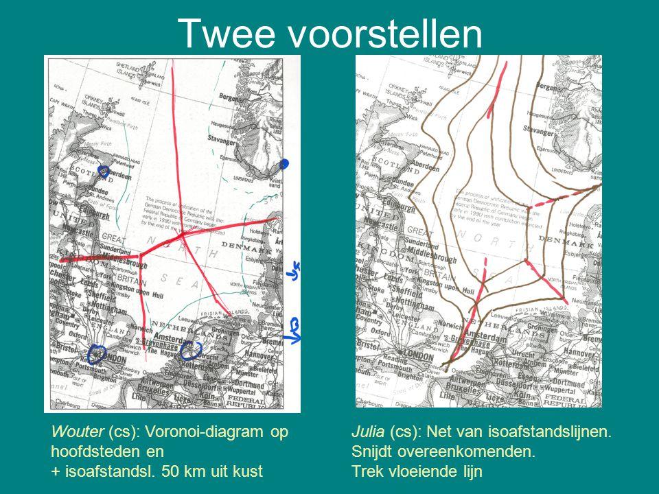 Twee voorstellen Wouter (cs): Voronoi-diagram op hoofdsteden en + isoafstandsl. 50 km uit kust Julia (cs): Net van isoafstandslijnen. Snijdt overeenko
