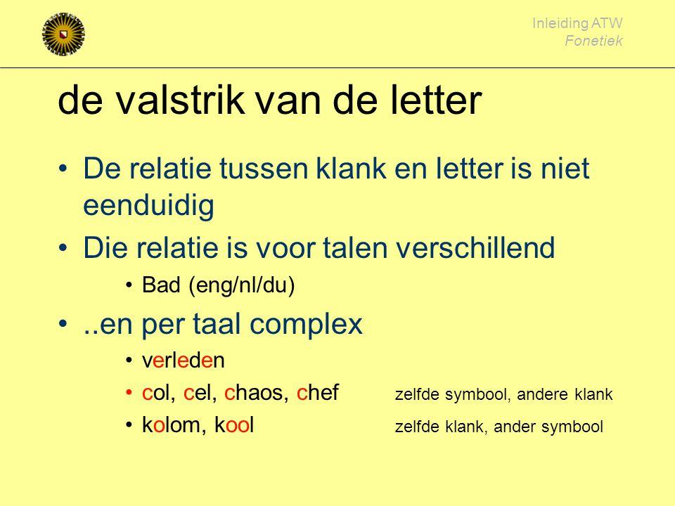 Inleiding ATW Fonetiek de spraakklank Foneem: kleinste klank die betekenis- onderscheidend is mast # mest, dus 'a' en 'e' duiden op een verschillend f