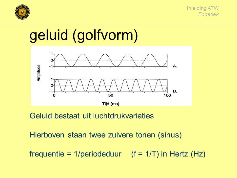 Inleiding ATW Fonetiek toonhoogte aantal malen openen en sluiten van de stemplooien, per seconde zangspreken mannen60 - 600 ~ 120 Hz vrouwen 120 - 150