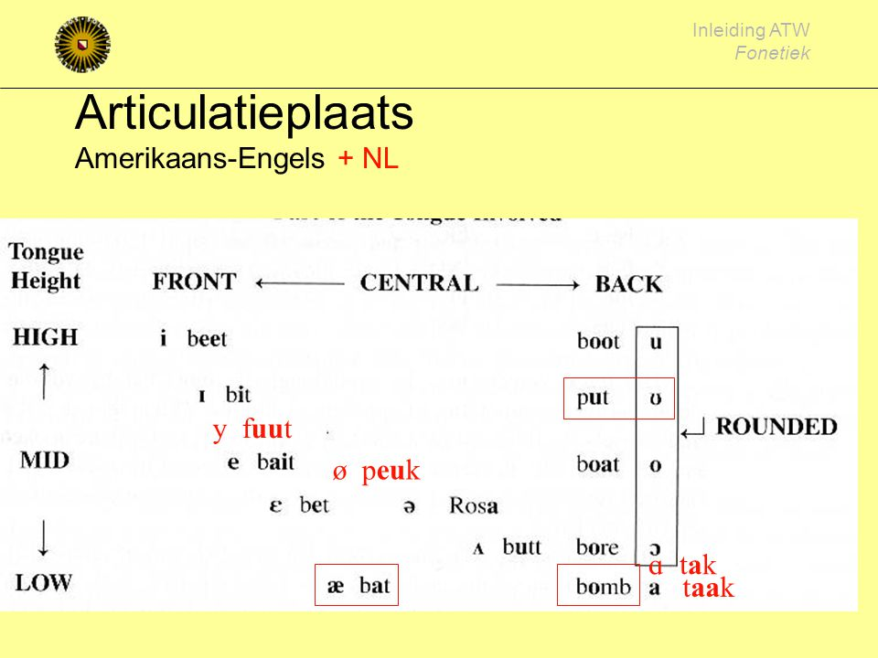 Inleiding ATW Fonetiek Klinkerarticulatie (plaats) tong hoog/laag [i][u] / [a] tong voor/achter [i] / [u][a]
