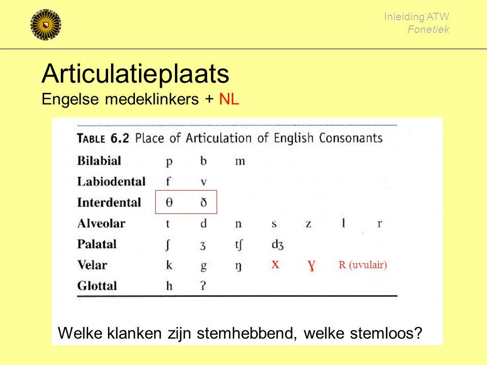 Inleiding ATW Fonetiek Articulatie plaatsen voor medeklinkers (plaatsen van vernauwing) zachte verhemelte (velair) Harde verhemelte (palataal) tandboo