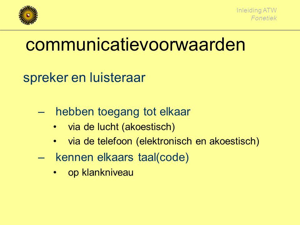 Inleiding ATW Fonetiek communicatievoorwaarden spreker en luisteraar –hebben toegang tot elkaar via de lucht (akoestisch) via de telefoon (elektronisch en akoestisch) –kennen elkaars taal(code) op klankniveau