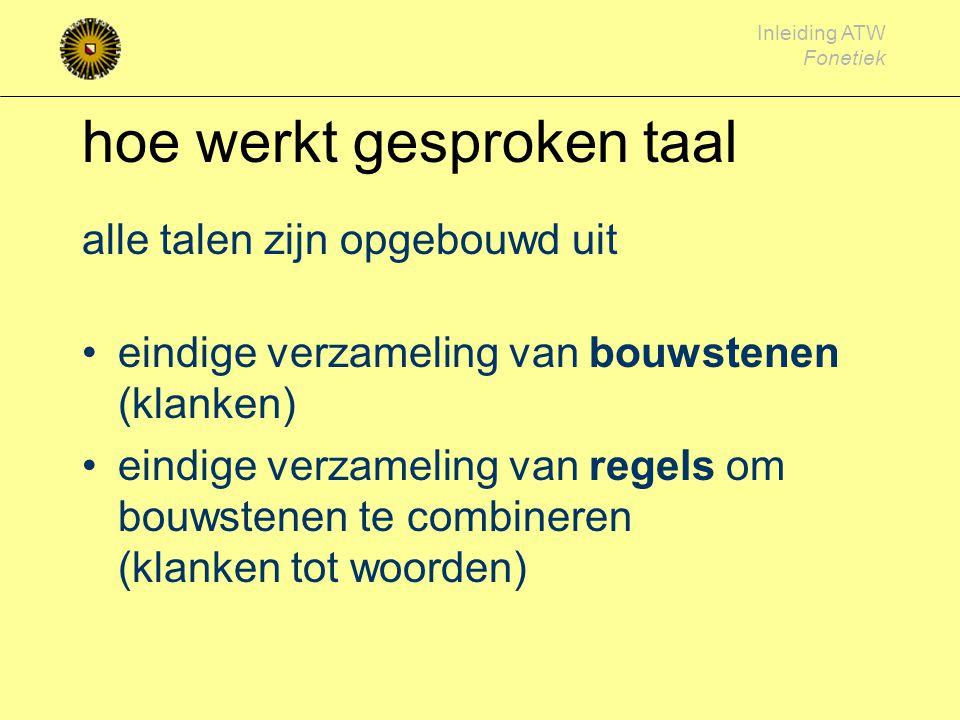 Inleiding ATW Fonetiek Bijzonder Weinig directe aanwijzingen in tekst lastig bij beregelen van kunstmatige spraak Moeilijk 'af te leren' bij tweede taal