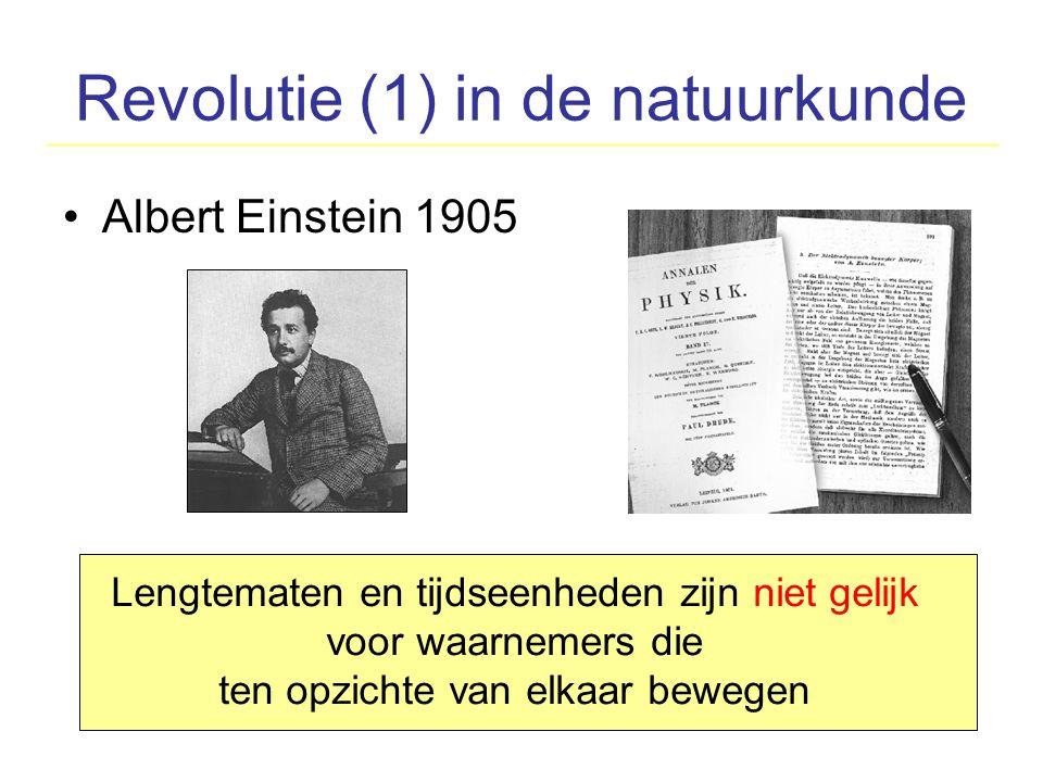 Revolutie (1) in de natuurkunde Albert Einstein 1905 Lengtematen en tijdseenheden zijn niet gelijk voor waarnemers die ten opzichte van elkaar bewegen