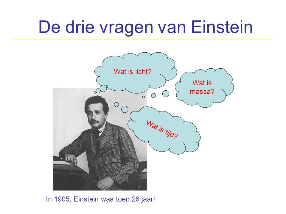 De drie vragen van Einstein Wat is licht? Wat is tijd? Wat is massa? In 1905, Einstein was toen 26 jaar!