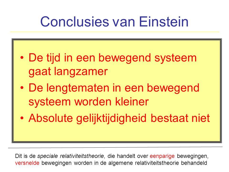 Conclusies van Einstein De tijd in een bewegend systeem gaat langzamer De lengtematen in een bewegend systeem worden kleiner Absolute gelijktijdigheid