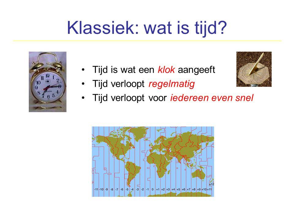 Klassiek: wat is tijd? Tijd is wat een klok aangeeft Tijd verloopt regelmatig Tijd verloopt voor iedereen even snel