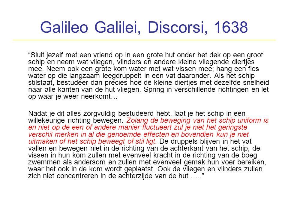 """Galileo Galilei, Discorsi, 1638 """"Sluit jezelf met een vriend op in een grote hut onder het dek op een groot schip en neem wat vliegen, vlinders en and"""