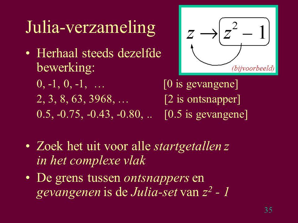 35 Julia-verzameling Herhaal steeds dezelfde bewerking: 0, -1, 0, -1, … [0 is gevangene] 2, 3, 8, 63, 3968, … [2 is ontsnapper] 0.5, -0.75, -0.43, -0.