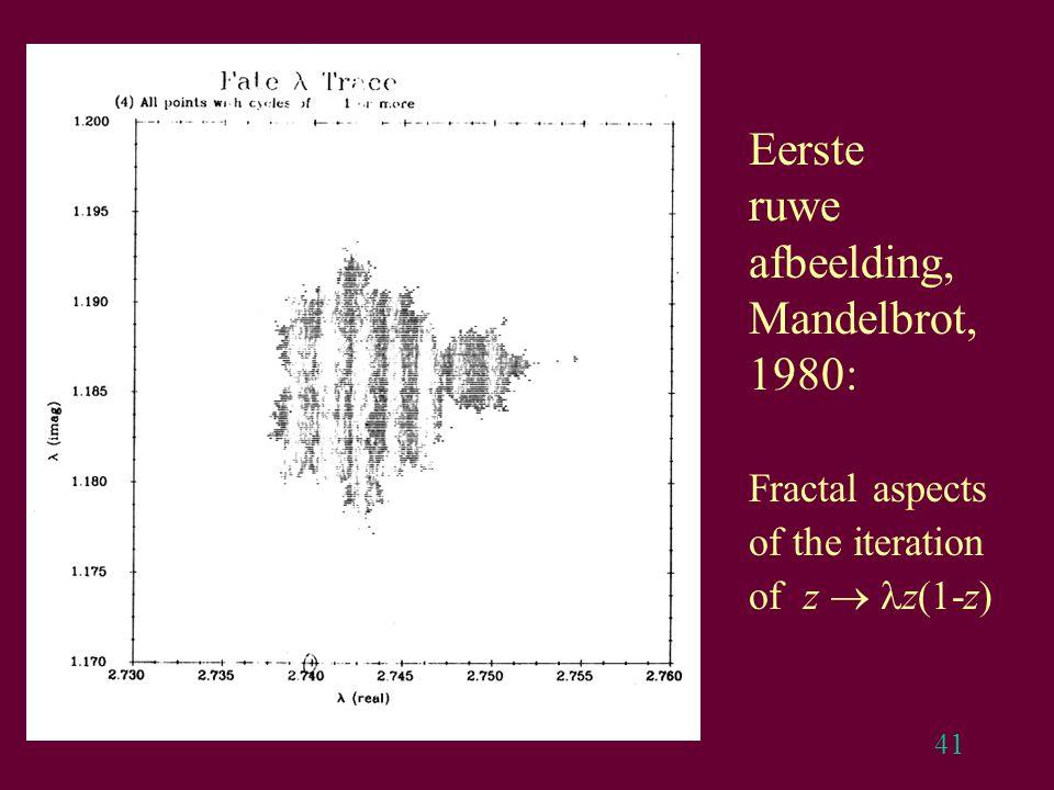 41 Eerste ruwe afbeelding, Mandelbrot, 1980: Fractal aspects of the iteration of z  z(1-z)