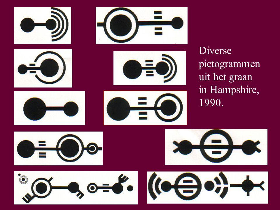 53 Diverse pictogrammen uit het graan in Hampshire, 1990.
