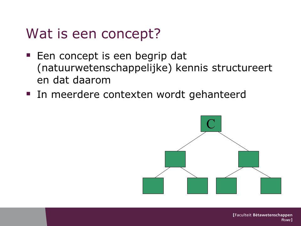 Wat is een concept?  Een concept is een begrip dat (natuurwetenschappelijke) kennis structureert en dat daarom  In meerdere contexten wordt gehantee