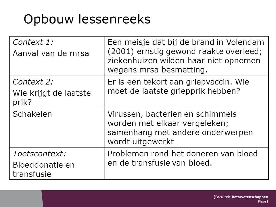 Opbouw lessenreeks Context 1: Aanval van de mrsa Een meisje dat bij de brand in Volendam (2001) ernstig gewond raakte overleed; ziekenhuizen wilden ha