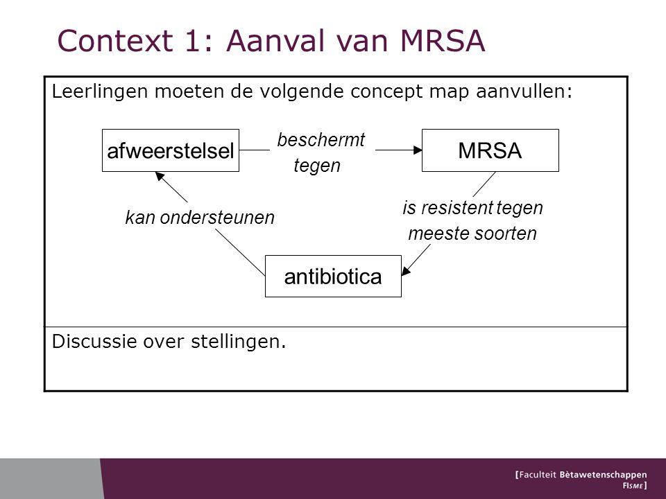 Leerlingen moeten de volgende concept map aanvullen: Discussie over stellingen. Context 1: Aanval van MRSA afweerstelsel antibiotica MRSA is resistent