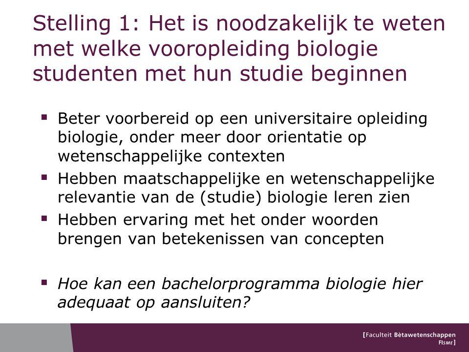 Stelling 1: Het is noodzakelijk te weten met welke vooropleiding biologie studenten met hun studie beginnen  Beter voorbereid op een universitaire op