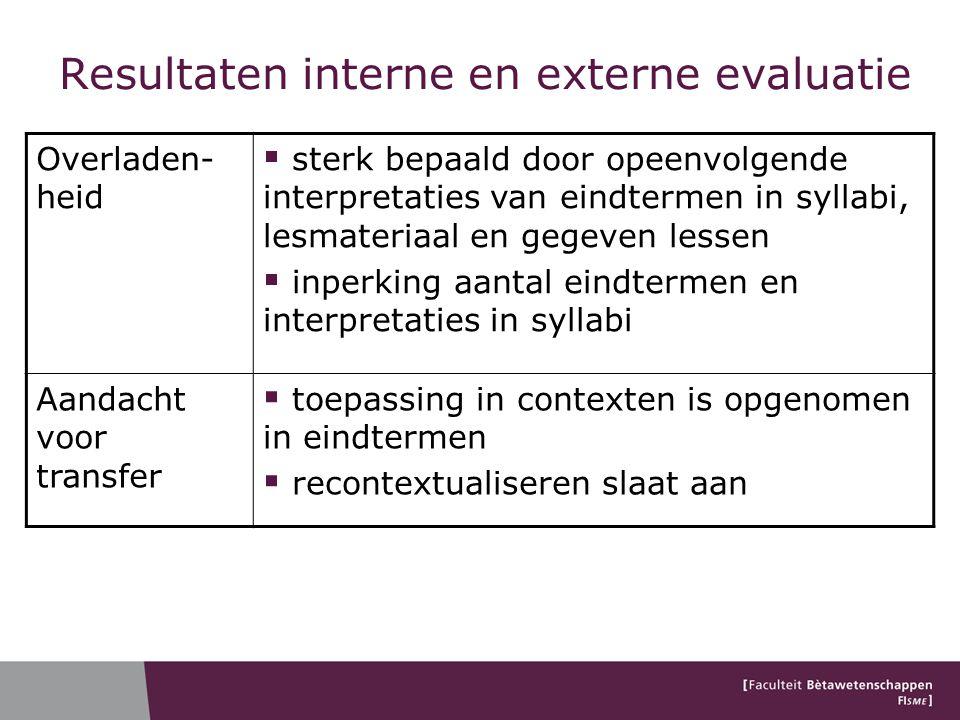 Resultaten interne en externe evaluatie Overladen- heid  sterk bepaald door opeenvolgende interpretaties van eindtermen in syllabi, lesmateriaal en g