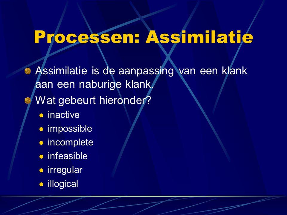 Processen: Assimilatie Assimilatie is de aanpassing van een klank aan een naburige klank.