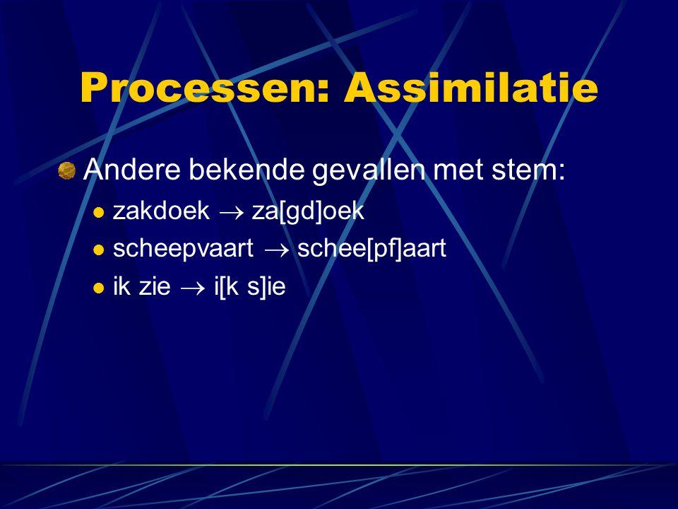 Processen: Assimilatie Andere bekende gevallen met stem: zakdoek  za[gd]oek scheepvaart  schee[pf]aart ik zie  i[k s]ie