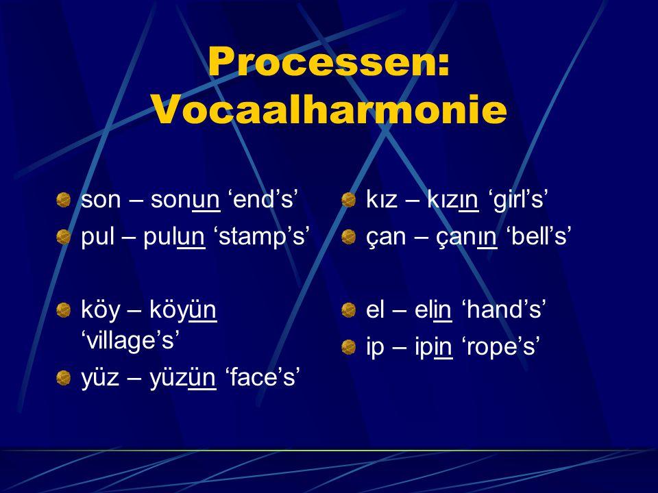 Processen: Vocaalharmonie son – sonun 'end's' pul – pulun 'stamp's' köy – köyün 'village's' yüz – yüzün 'face's' kız – kızın 'girl's' çan – çanın 'bell's' el – elin 'hand's' ip – ipin 'rope's'