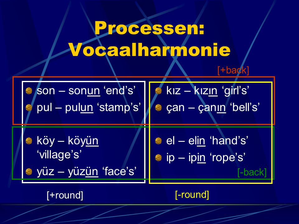 Processen: Vocaalharmonie son – sonun 'end's' pul – pulun 'stamp's' köy – köyün 'village's' yüz – yüzün 'face's' kız – kızın 'girl's' çan – çanın 'bell's' el – elin 'hand's' ip – ipin 'rope's' [+round] [+back] [-back] [-round]