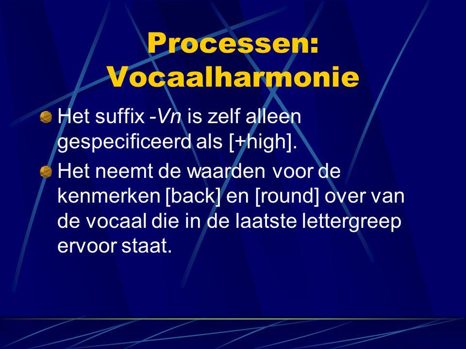 Processen: Vocaalharmonie Het suffix -Vn is zelf alleen gespecificeerd als [+high].