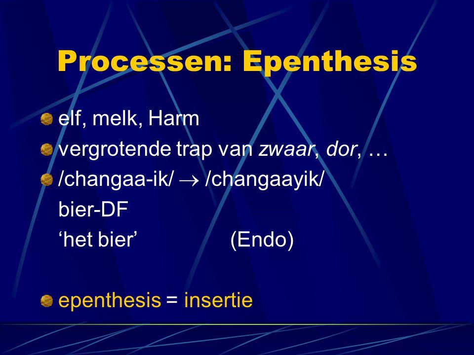 Processen: Epenthesis elf, melk, Harm vergrotende trap van zwaar, dor, … /changaa-ik/  /changaayik/ bier-DF 'het bier' (Endo) epenthesis = insertie