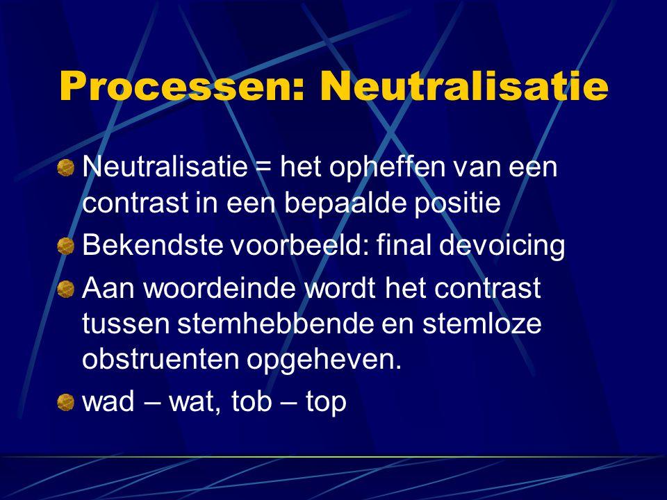 Processen: Neutralisatie Neutralisatie = het opheffen van een contrast in een bepaalde positie Bekendste voorbeeld: final devoicing Aan woordeinde wordt het contrast tussen stemhebbende en stemloze obstruenten opgeheven.