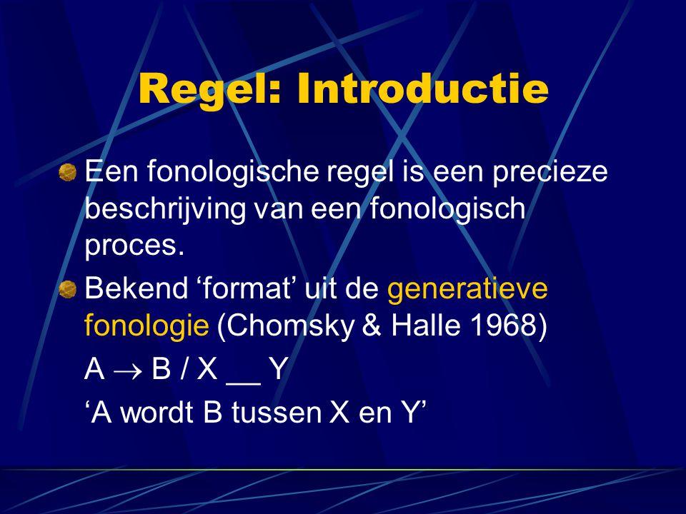 Regel: Introductie Een fonologische regel is een precieze beschrijving van een fonologisch proces.