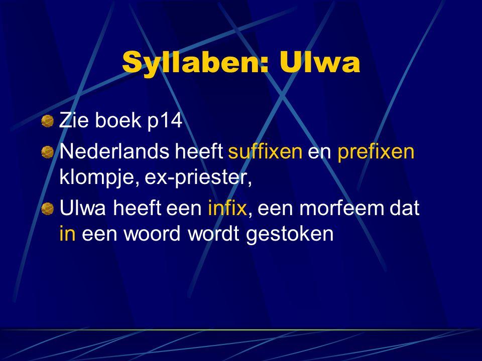 Syllaben: Ulwa Zie boek p14 Nederlands heeft suffixen en prefixen klompje, ex-priester, Ulwa heeft een infix, een morfeem dat in een woord wordt gestoken
