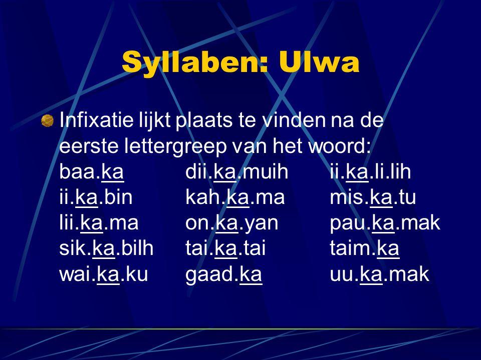 Syllaben: Ulwa Infixatie lijkt plaats te vinden na de eerste lettergreep van het woord: baa.kadii.ka.muihii.ka.li.lih ii.ka.binkah.ka.mamis.ka.tu lii.ka.maon.ka.yanpau.ka.mak sik.ka.bilhtai.ka.taitaim.ka wai.ka.kugaad.kauu.ka.mak
