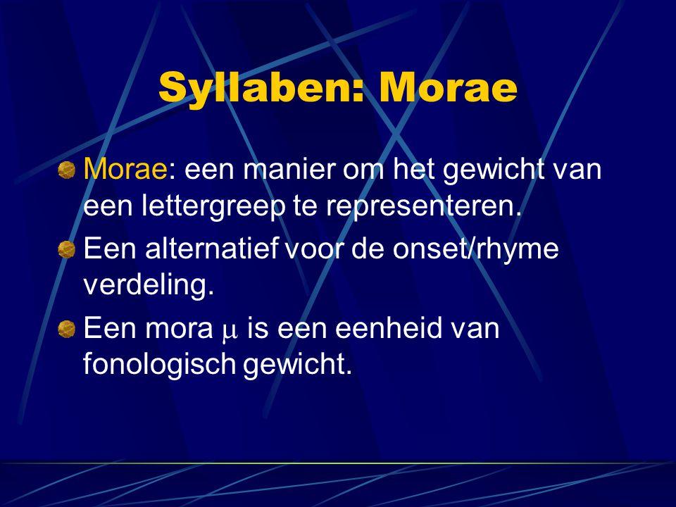 Syllaben: Morae Morae: een manier om het gewicht van een lettergreep te representeren.