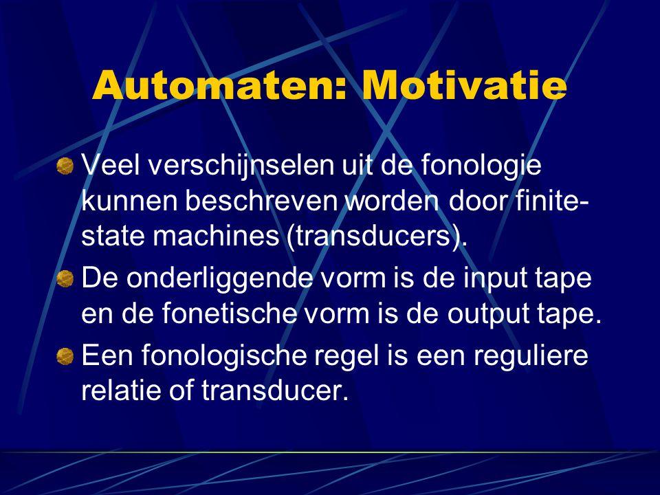 Automaten: Motivatie Veel verschijnselen uit de fonologie kunnen beschreven worden door finite- state machines (transducers).