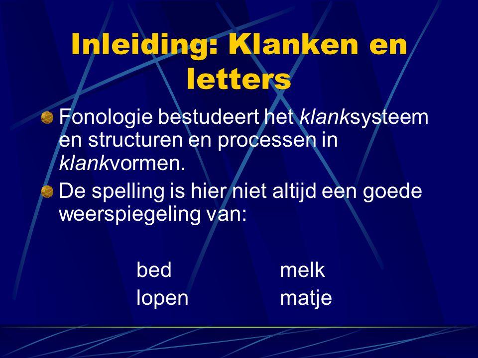 Inleiding: Klanken en letters Fonologie bestudeert het klanksysteem en structuren en processen in klankvormen.