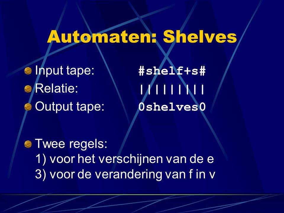 Automaten: Shelves Input tape: #shelf+s# Relatie: ||||||||| Output tape: 0shelves0 Twee regels: 1) voor het verschijnen van de e 3) voor de verandering van f in v