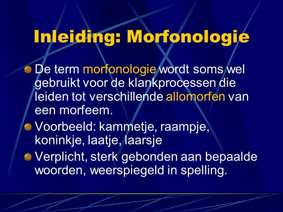 Inleiding: Morfonologie De term morfonologie wordt soms wel gebruikt voor de klankprocessen die leiden tot verschillende allomorfen van een morfeem.