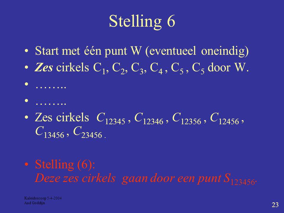 Kaleidoscoop 5-4-2004 Aad Goddijn 23 Stelling 6 Start met één punt W (eventueel oneindig) Zes cirkels C 1, C 2, C 3, C 4, C 5, C 5 door W.
