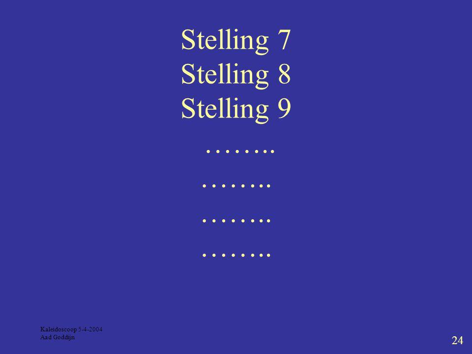 Kaleidoscoop 5-4-2004 Aad Goddijn 24 Stelling 7 Stelling 8 Stelling 9 …….. …….. …….. ……..