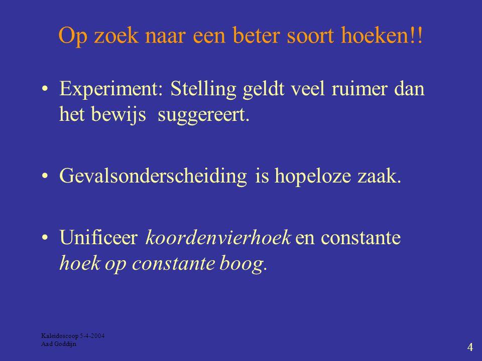 Kaleidoscoop 5-4-2004 Aad Goddijn 4 Op zoek naar een beter soort hoeken!.