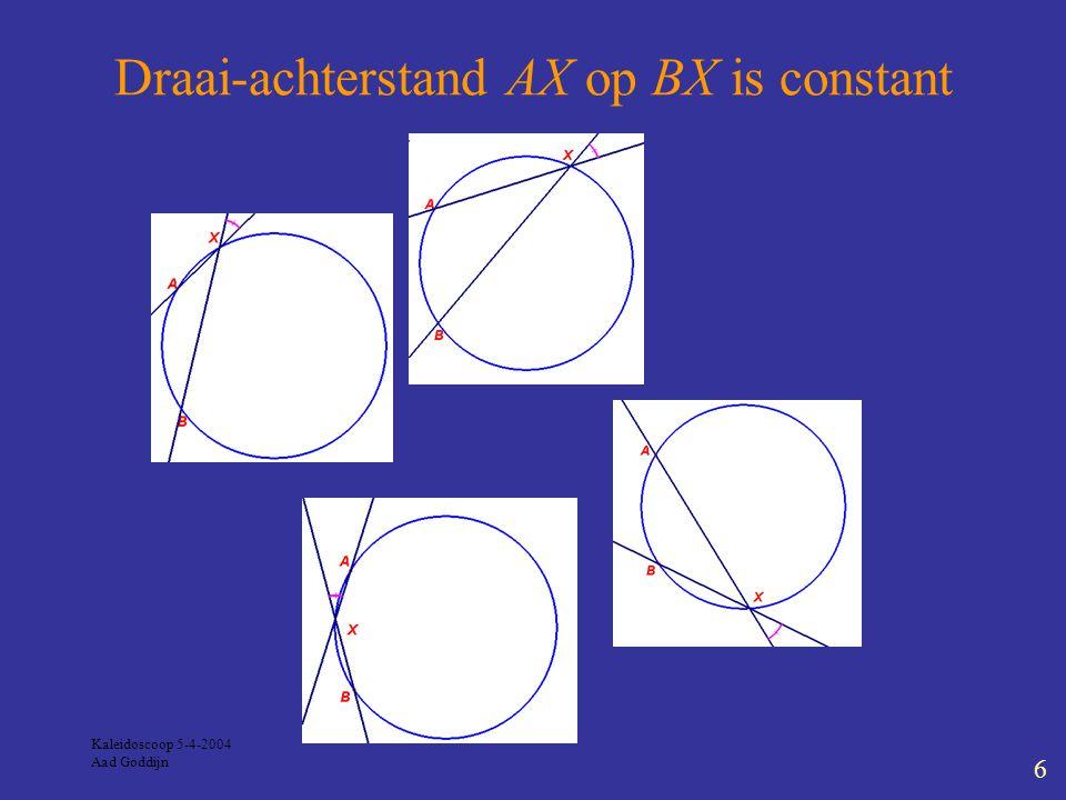 Kaleidoscoop 5-4-2004 Aad Goddijn 7 Georiënteerde hoeken (1) De georiënteerde hoek van lijnen l en m is: draaiingshoek (tegenkloks) die l moet maken om evenwijdig aan m te worden.