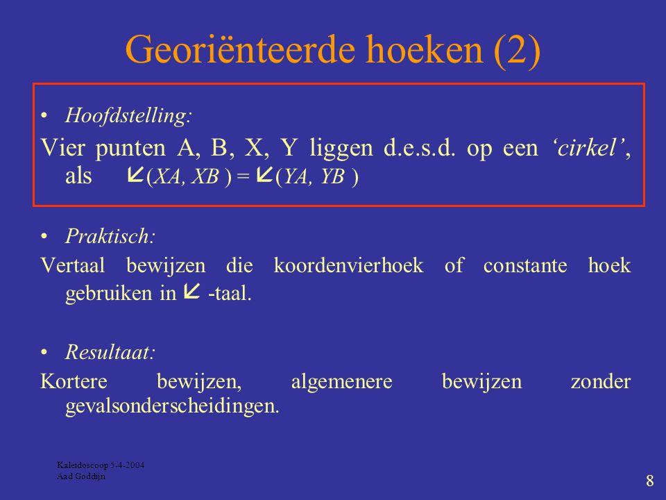 Kaleidoscoop 5-4-2004 Aad Goddijn 8 Georiënteerde hoeken (2) Hoofdstelling: Vier punten A, B, X, Y liggen d.e.s.d.