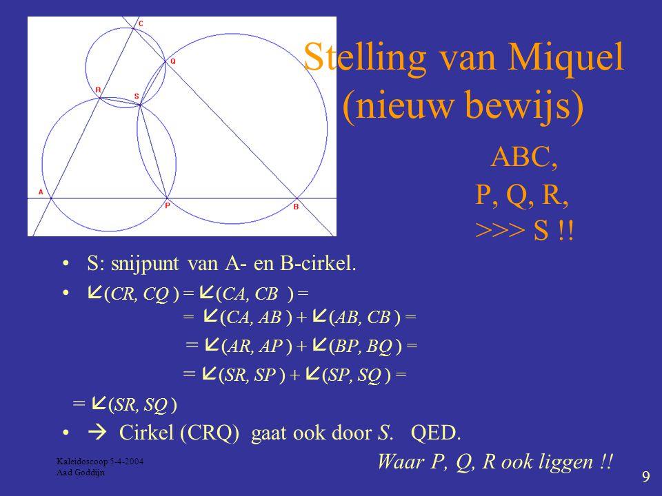 Kaleidoscoop 5-4-2004 Aad Goddijn 9 S: snijpunt van A- en B-cirkel.