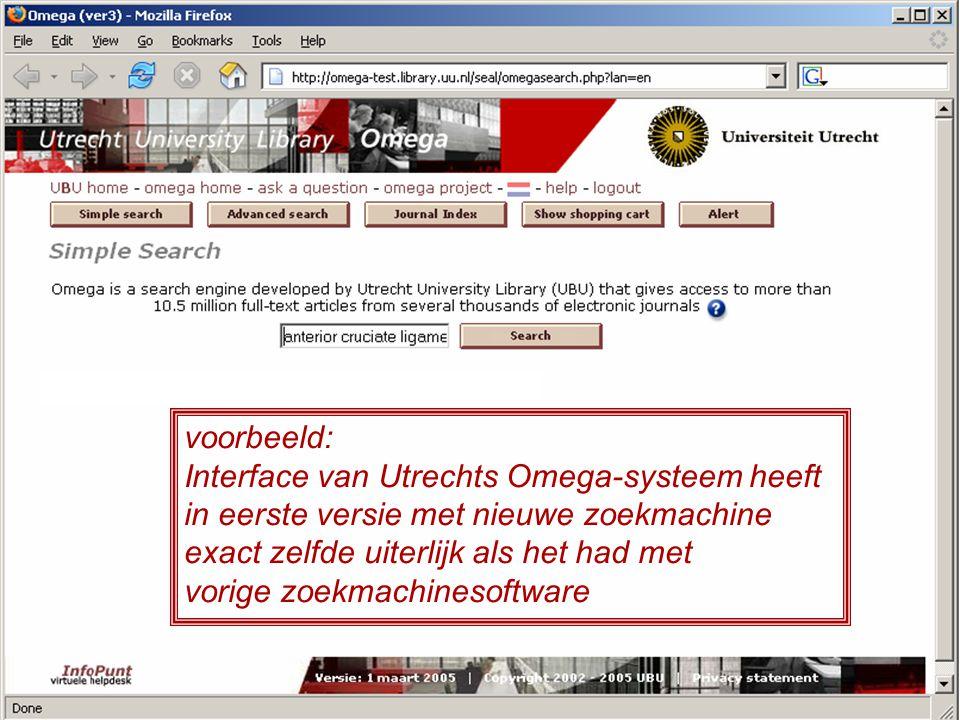 voorbeeld: Interface van Utrechts Omega-systeem heeft in eerste versie met nieuwe zoekmachine exact zelfde uiterlijk als het had met vorige zoekmachinesoftware
