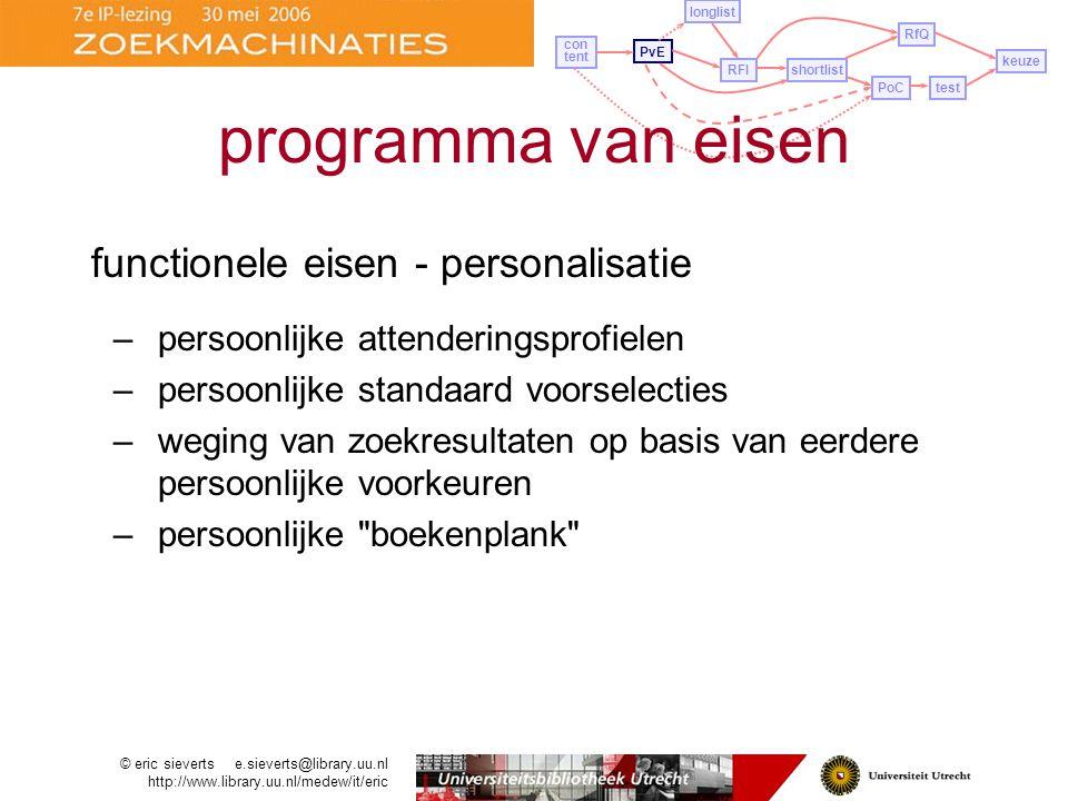 functionele eisen - personalisatie –persoonlijke attenderingsprofielen –persoonlijke standaard voorselecties –weging van zoekresultaten op basis van eerdere persoonlijke voorkeuren –persoonlijke boekenplank PvE longlist con tent RFIshortlist PoCtest RfQ keuze programma van eisen © eric sieverts e.sieverts@library.uu.nl http://www.library.uu.nl/medew/it/eric