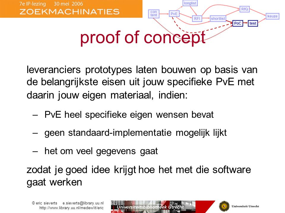 leveranciers prototypes laten bouwen op basis van de belangrijkste eisen uit jouw specifieke PvE met daarin jouw eigen materiaal, indien: –PvE heel specifieke eigen wensen bevat –geen standaard-implementatie mogelijk lijkt –het om veel gegevens gaat zodat je goed idee krijgt hoe het met die software gaat werken PvE longlist con tent RFIshortlist PoCtest RfQ keuze proof of concept © eric sieverts e.sieverts@library.uu.nl http://www.library.uu.nl/medew/it/eric